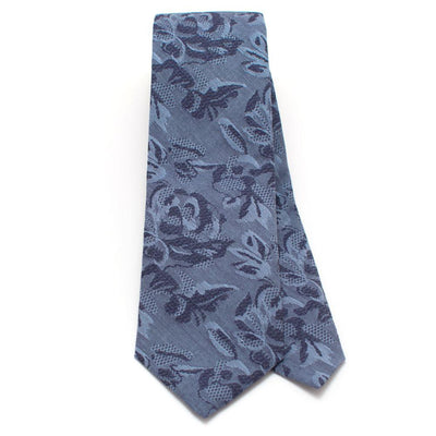 "Sakura Garden Indigo Necktie - General Knot & Co. ,  Classic Necktie 2 7/8"" x 58"" - Neckwear and travel bags"