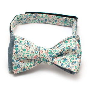 "Sapphire Floral & Pond Reversible Bow - General Knot & Co. ,  Self-Tied Classic Bow Tie 2.5"" at Widest - Neckwear and travel bags"