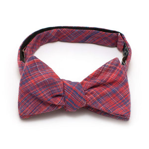 "Scarlet Homespun Classic Bow - General Knot & Co. ,  Self-Tied Classic Bow Tie 2.5"" at Widest - Neckwear and travel bags"