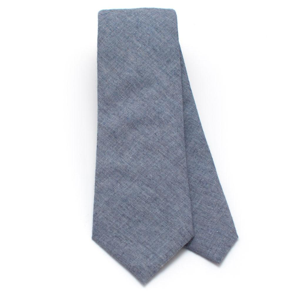 5c47f2ea00fa Smoke Blue Chambray Necktie - General Knot & Co. , Classic Necktie 2 7/
