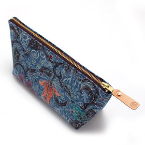 Vintage Blue Balinese Tropical Makeup Bag - General Knot & Co. ,  Bags - Neckwear and travel bags