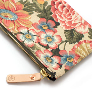Vintage Cornwall Floral Zipper Pouch - General Knot & Co. ,  Bags - Neckwear and travel bags