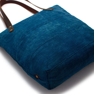 Vintage Indigo Mudcloth Portfolio Tote - General Knot & Co. ,  Bags - Neckwear and travel bags