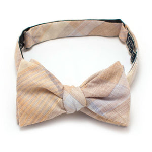 "Vintage Sand Hill Plaid Bow - General Knot & Co. ,  Self-Tied Classic Bow Tie 2.5"" at Widest - Neckwear and travel bags"