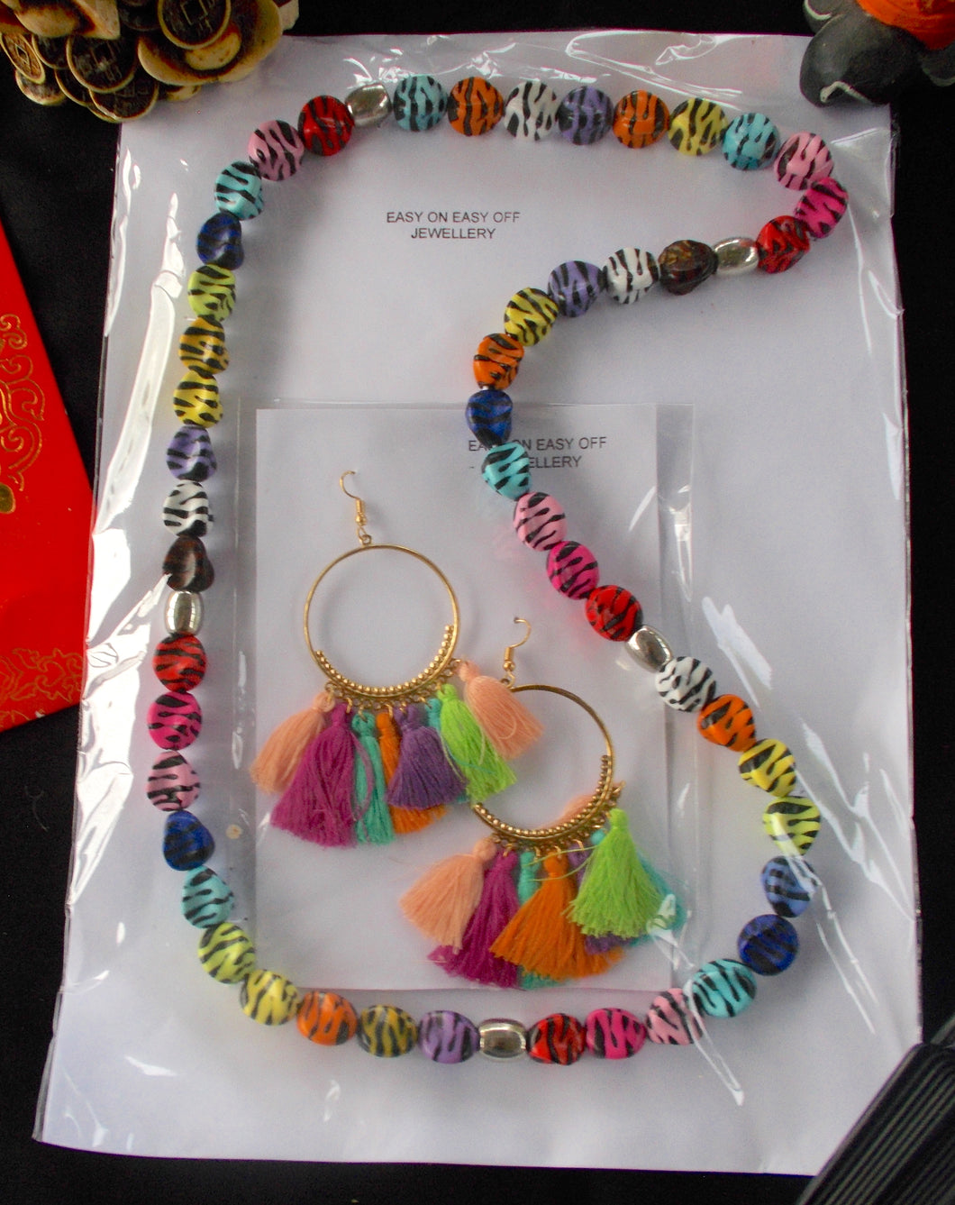Multicoloured Zebra Bead Necklace