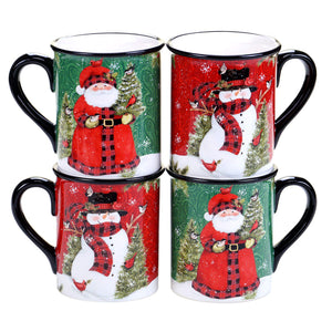 Certified International 4-pc. Winter's Plaid Mug Set
