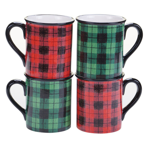 Certified International Winter's 4-pc. Plaid Mug Set