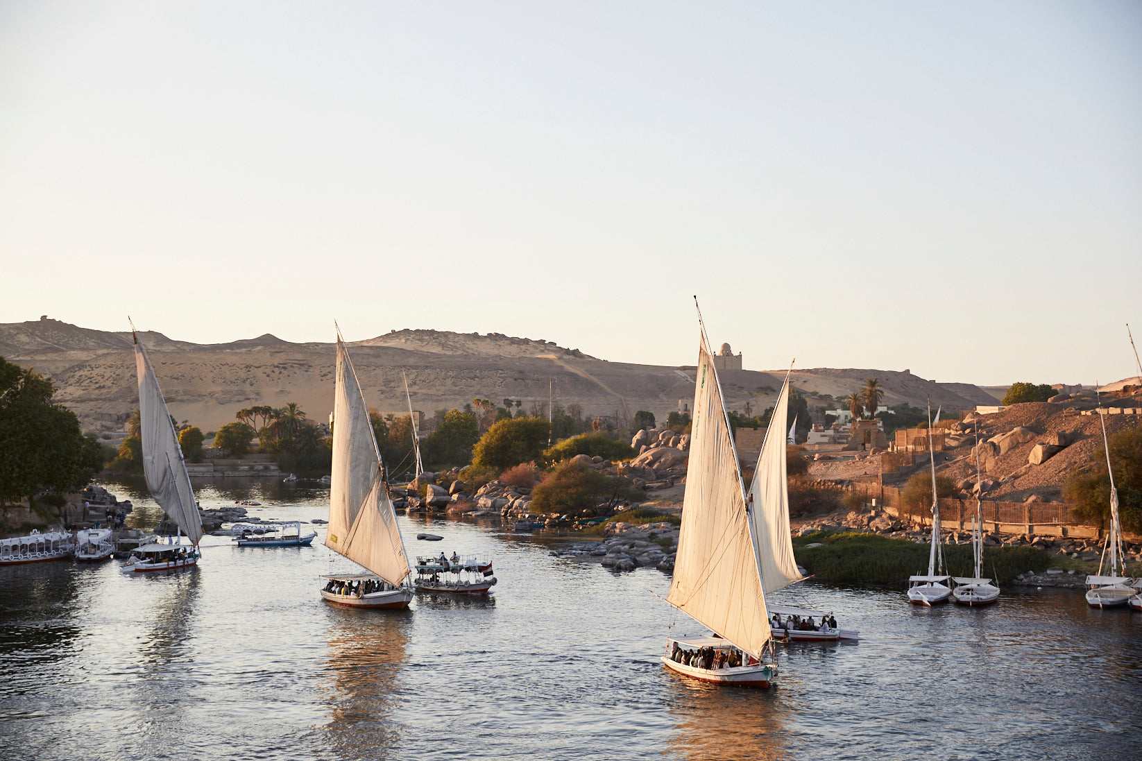 Feluccas at Sunset, Aswan, Egypt