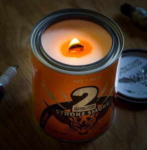 Super awesome custom blended 2 stroke smoke candle made with real live Klotz 2 stroke oil