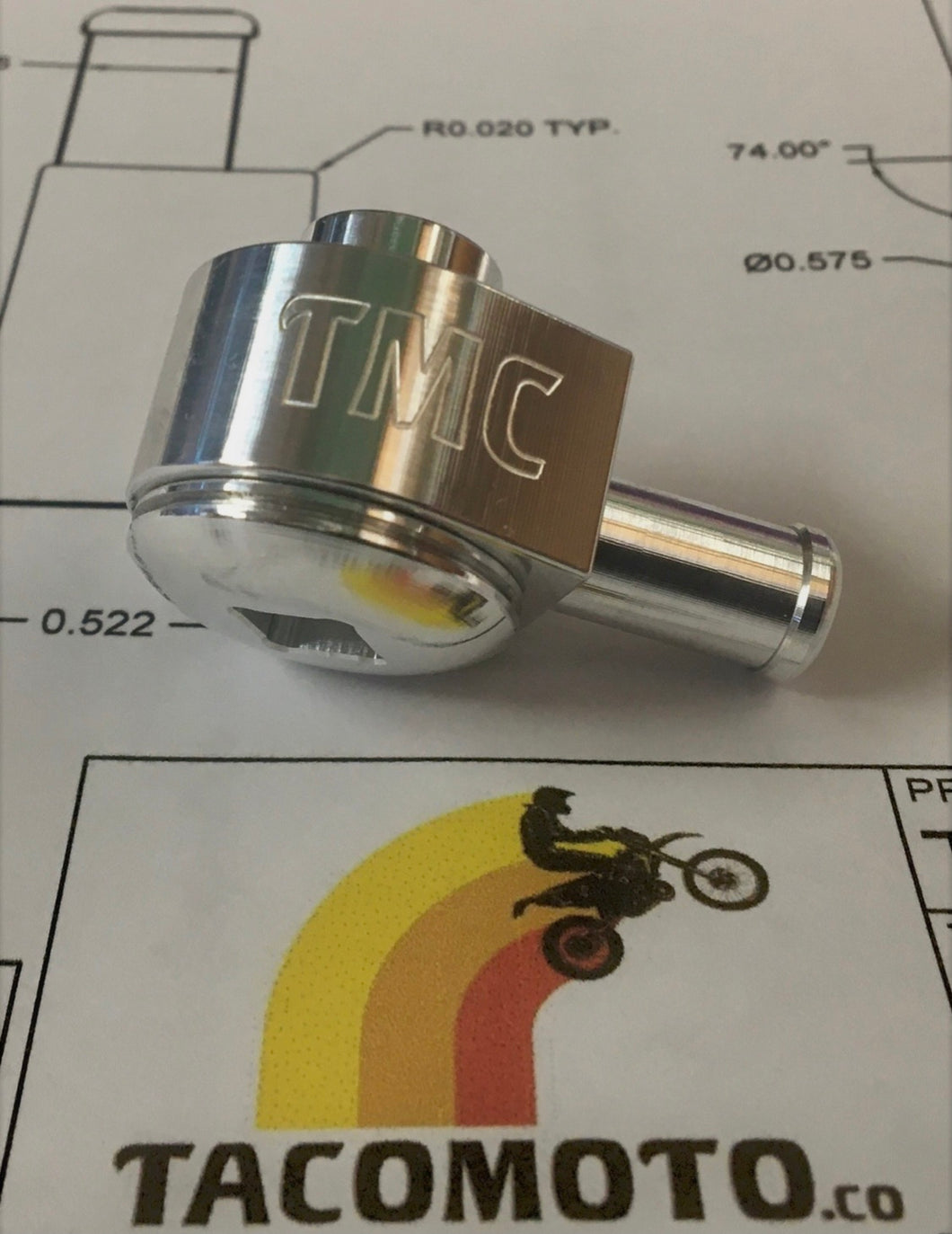 90 DEG FUEL PUMP FITTING FOR BOTH THIN AND THICK WALL TANKS BY TACO MOTO CO.