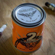 Load image into Gallery viewer, Super awesome custom blended 2 stroke smoke candle made with real live Klotz 2 stroke oil