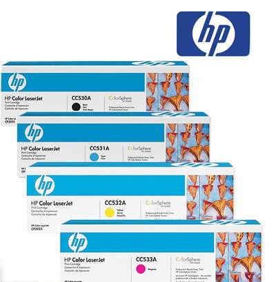 HP 530 B,C,M,Y Genuine Toner Cartridge Bundle