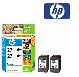 HP CC621AA (HP 27) Genuine Black Ink Cartridge Twin Pack