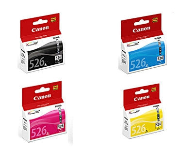 Canon CLI526BK, C, M & Y genuine printer cartridges