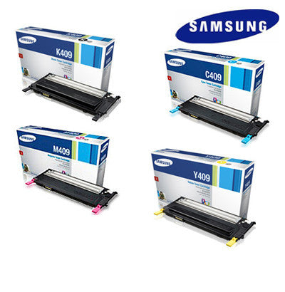 Samsung CLT-P409C Genuine B,C,M,Y Bundle Laser Cartridges