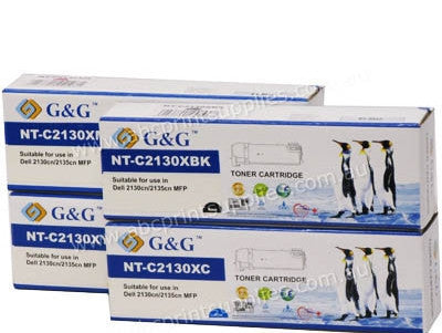Dell 2130cn B,C,M,Y Remanufactured Toner Cartridge Bundle