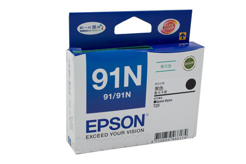 Epson T1071 (91N) Genuine Black Ink Cartridge - 180 pages