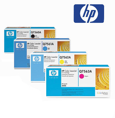 HP 3000 Genuine B,C,M,Y Bundle Genuine Toner Cartridges
