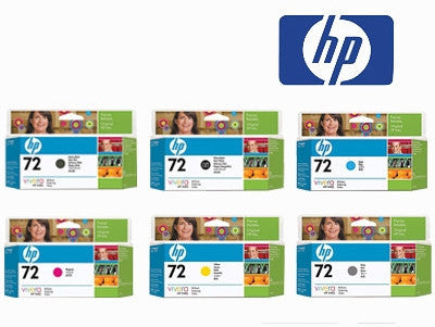 HP 72 Genuine B,BM,C,M,Y & PG (6) High Yield Value Pack Ink Cartridges