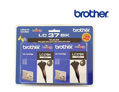 Brother LC37 Genuine Black Ink Cartridge Twin Pack