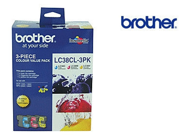 Brother LC39CL3PK Genuine Cyan Magenta & Yellow 3 Pack  Ink Cartridge