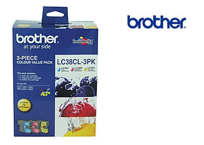 Brother LC38 Cyan/Magenta/Yellow 3 Pack Genuine  Ink Cartridges