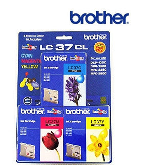 Brother LC37 Genuine 3 Pak of Cyan Magenta, & Yellow Ink Cartridges
