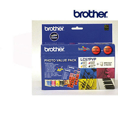 Brother LC57PVP  LC57B, LC57C, LC57M & LC57Y genuine printer cartridges for  DCP130C,  DCP330C,  DCP350C & other printers by Brother
