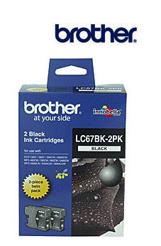 Brother LC67BK2PK  Genuine Black Twin Pack Ink Cartridges