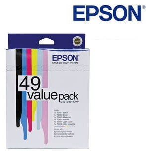 Epson T0491 Genuine B,C,M,Y,LC,& LM Value Pack Ink Cartridges