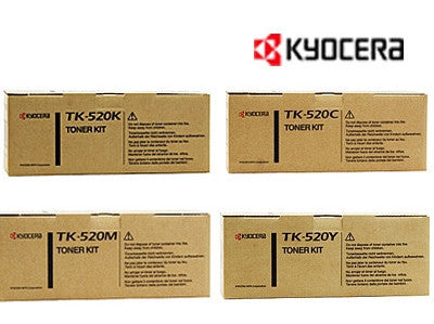Kyocera TK-520 Genuine B,C,M,Y Bundle Laser Cartridges