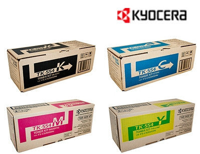 Kyocera TK-554 B,C,M,Y Bundle Genuine Toner Cartridges