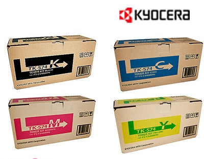 Kyocera TK-574 Genuine B,C,M,Y Bundle Toner Cartridges