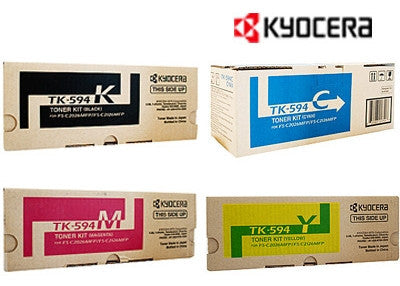 Kyocera TK-594 Genuine B,C,M,Y Bundle Laser Cartridges