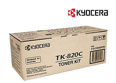 Kyocera TK-820C Genuine Cyan Toner Cartridge