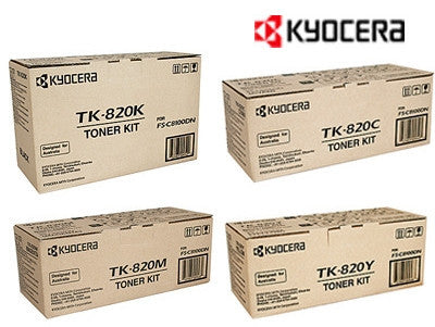 Kyocera TK-820 Genuine B,C,M,Y BundleToner Cartridges