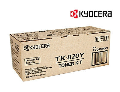 Kyocera TK-820Y Genuine Yellow Toner Cartridge