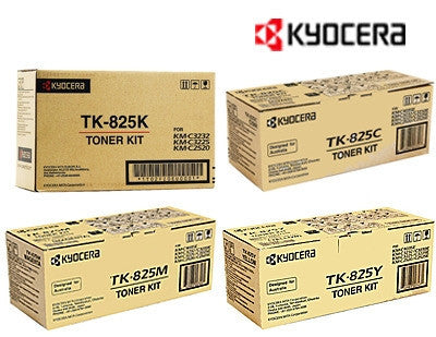 Kyocera TK-825 Genuine B,C,M,Y Bundle Copier Toner Cartridges
