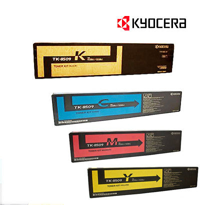 Kyocera TK-8509 Genuine B,C,M,Y Bundle Toner Cartridges