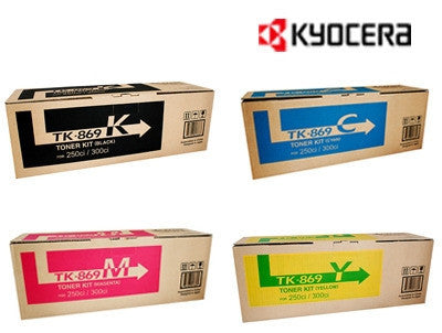 Kyocera TK-869K, TK-869C, TK-869M, TK-869Y genuine printer cartridges