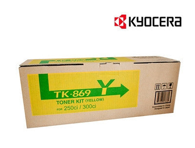 Kyocera TK-869Y yellow genuine printer cartridge for  TASKalfa 250ci, TASKalfa 300ci printers by Kyocera