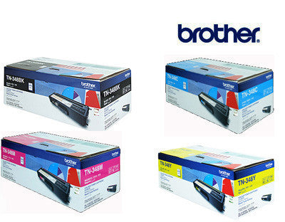 Brother TN-348 Bundle BCMY Genuine Laser (4) Cartridges