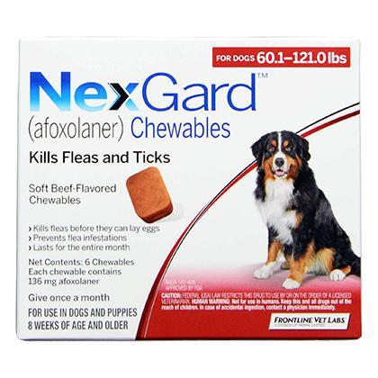 <B>NexGard</B> Chewable Tablets for Dogs, 60.1-121 lbs, 6 Treatments, Red Box (Carton of 10)