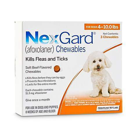 <B>NexGard</B> Chewable Tablets for Dogs, 4-10 lbs, 3 Treatments, Orange Box (Carton of 10)