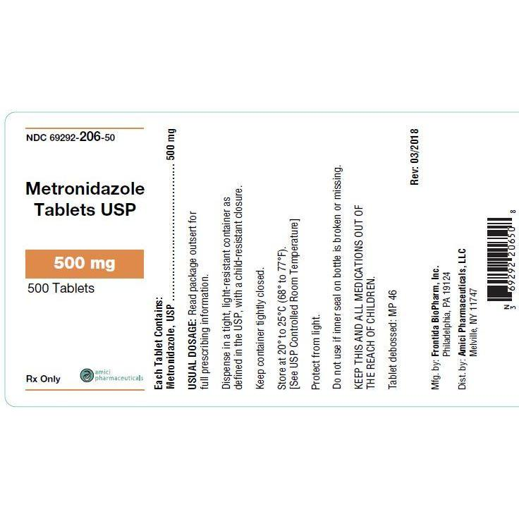 <B>Metronidazole</B> Tablets 500-mg, 500 Count (Generic Flagyl)