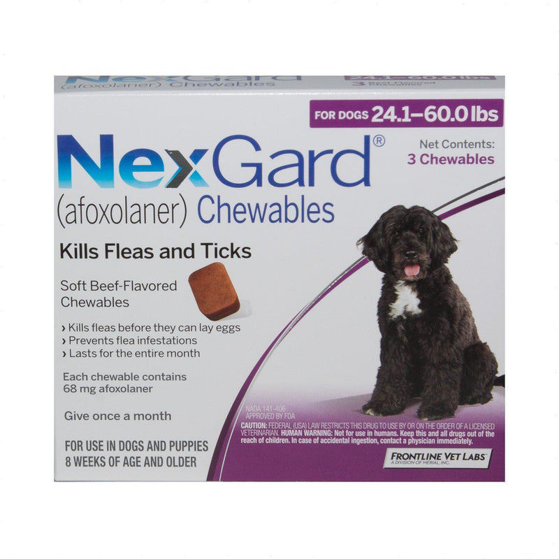 <B>NexGard</B> Chewable Tablets for Dogs, 24.1-60 lbs, 6 Treatments, Purple Box (Carton of 10)