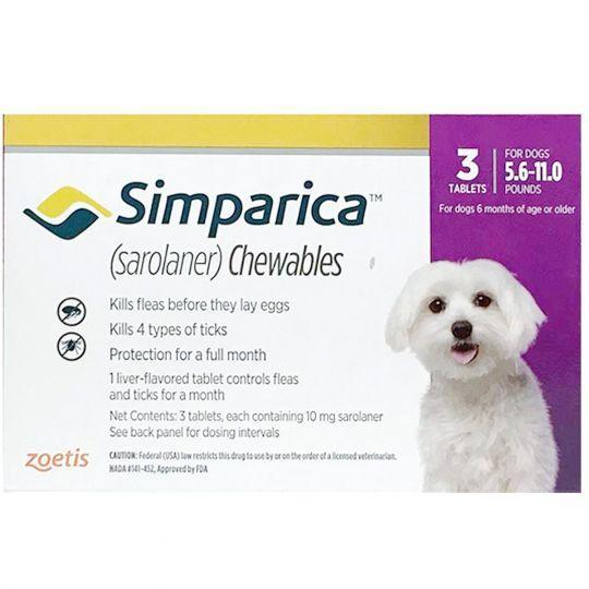 <B>Simparica</B> Purple Chew Tabs for Dogs, 5.6-11 lbs, 3 Treatments (Carton of 10) SHORT DATED 7/31/21
