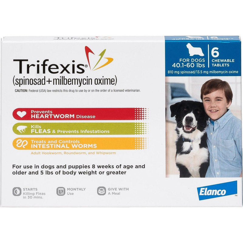 <B>Elanco</B> Trifexis Chewable Tablets for Dogs, 40.1-60 lbs, Blue Box, 10-Count Sleeve