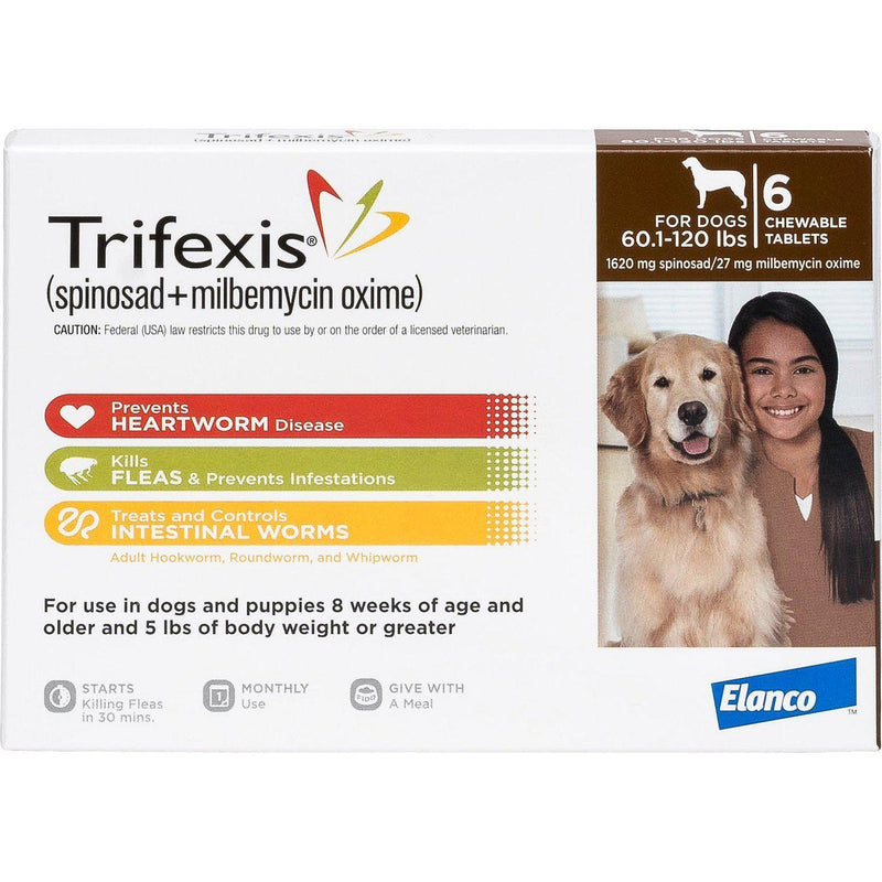 <B>Elanco</B> Trifexis Chewable Tablets for Dogs, 60-120 lbs, Brown Box, 10-Count Sleeve