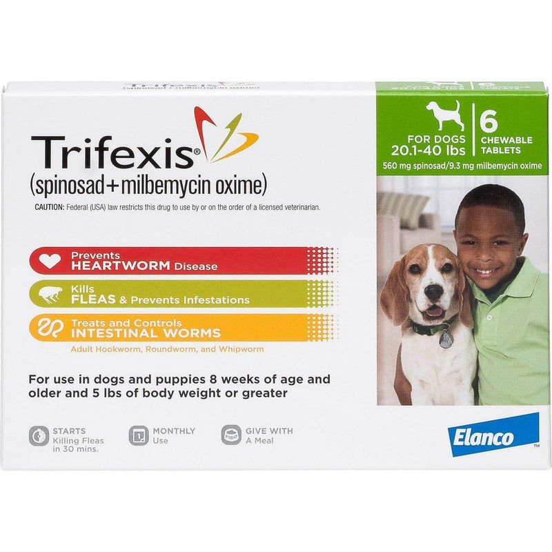 <B>Elanco</B> Trifexis Chewable Tablets for Dogs, 20-40 lbs, Green Box, 10-Count Sleeve